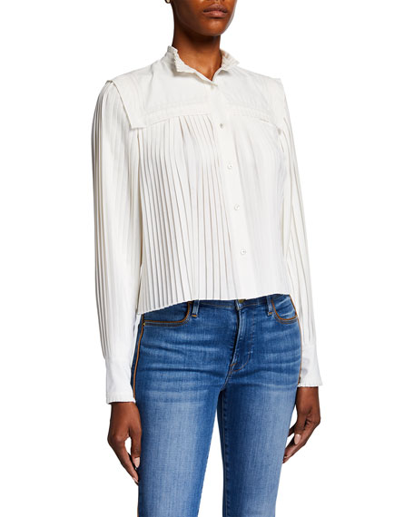 Veronica Beard Stila Pleated Button-Front Top