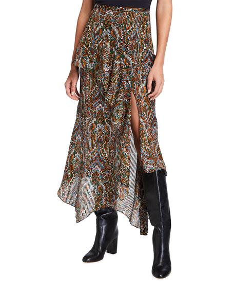 Veronica Beard Trixie Paisley Ruffle Maxi Skirt