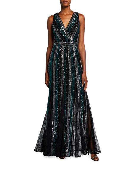 Marchesa Notte Sleeveless Multicolor Striped Sequin Gown
