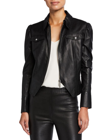 Jonathan Simkhai Standard Puff-Sleeve Faux-Leather Moto Jacket