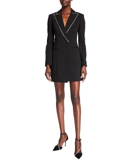 Jay Godfrey Ace Rhinestone-Trim Mini Blazer Dress