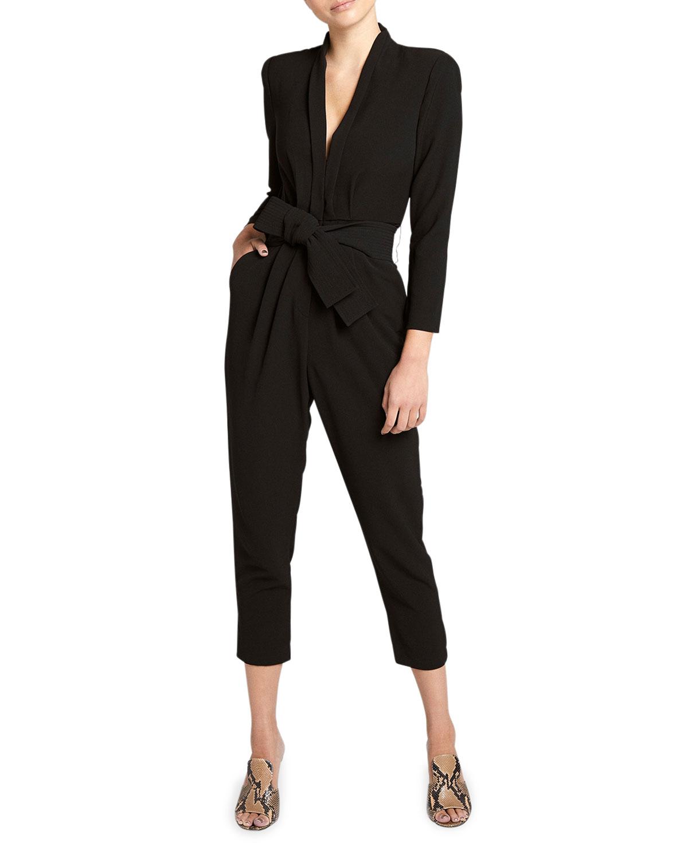 Kieran Belted Long-Sleeve Jumpsuit