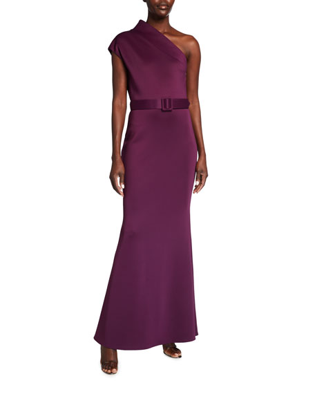 Badgley Mischka Collection One-Shoulder High-Neck Belted Gown