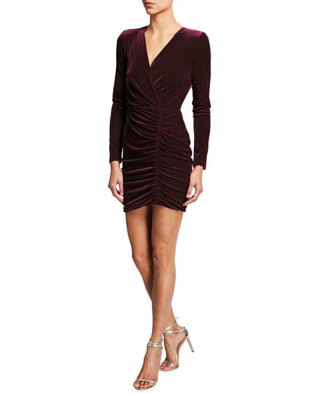 Black Halo Como Long-Sleeve Ruched Velvet Dress