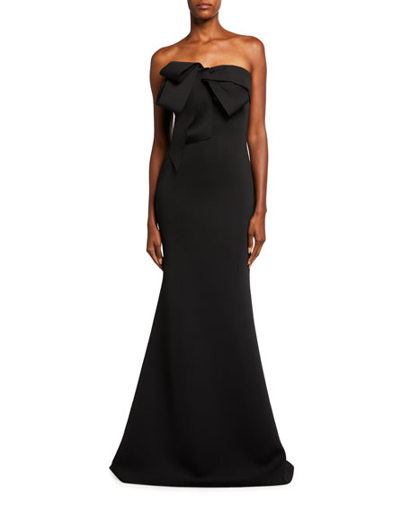 Badgley Mischka Collection Looped Bow Bustier Scuba Mermaid Gown