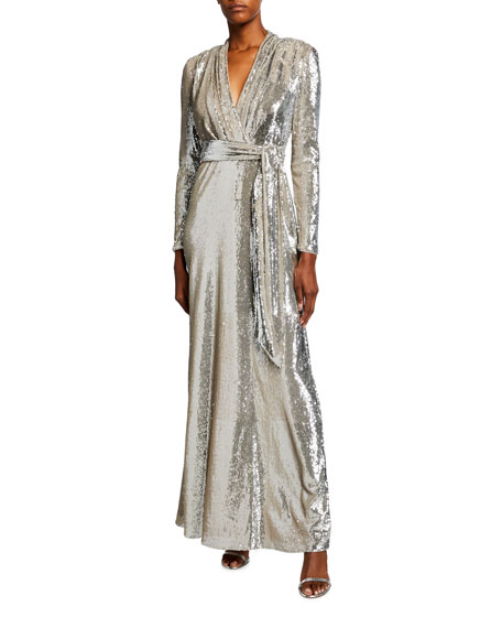 Badgley Mischka Collection Sequin Long-Sleeve Belted Surplice Gown