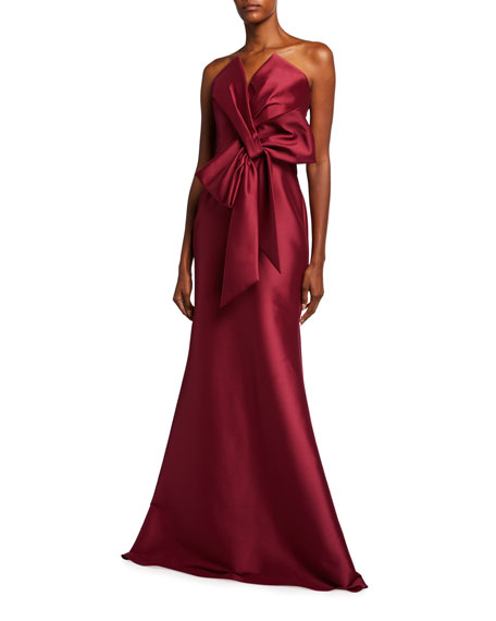Badgley Mischka Collection Strapless Bow-Front Mikado Trumpet Gown