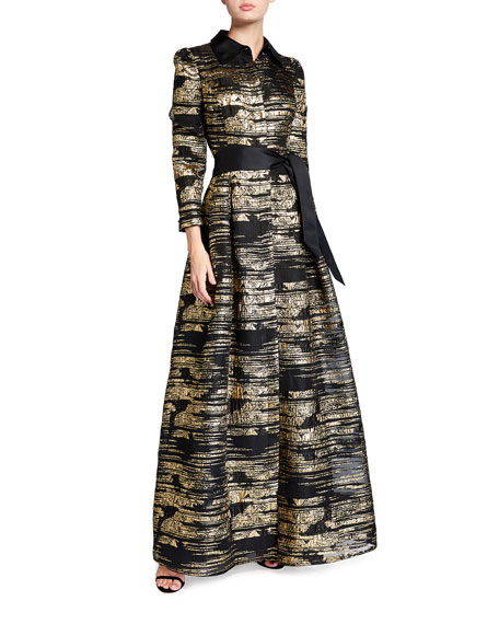 Rickie Freeman for Teri Jon Metallic Ombre 3/4-Sleeve Shirtdress Gown