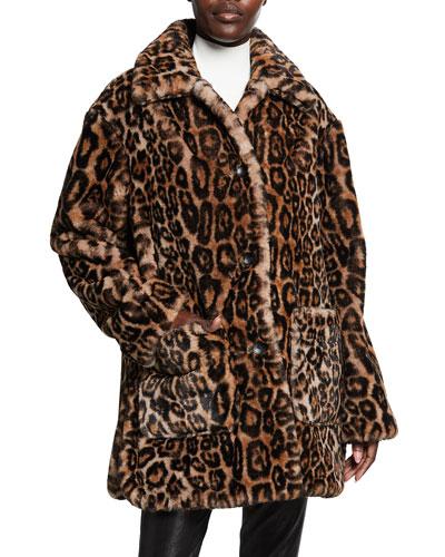 Bolton Leopard-Print Faux-Fur Coat