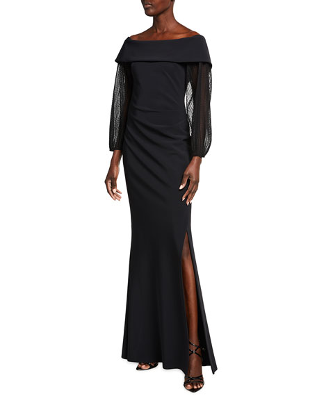 Rickie Freeman for Teri Jon Off-the-Shoulder Point d'Esprit Sleeve Scuba Gown