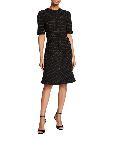 Rickie Freeman for Teri Jon Metallic Tweed Short Sleeve Dress