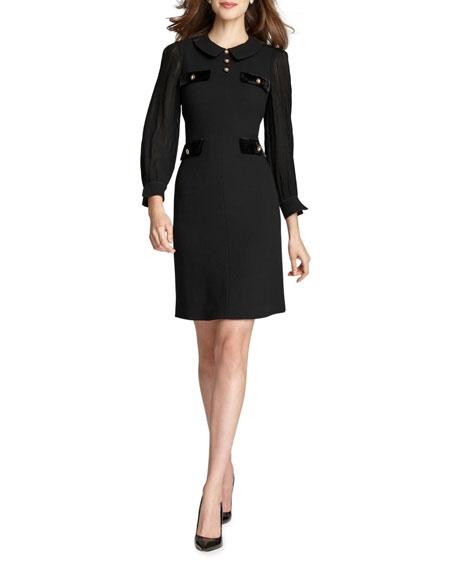 Rickie Freeman for Teri Jon Pleated Sleeve Collared Wool Crepe Dress
