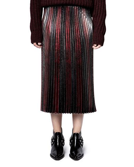 Zadig & Voltaire Joyce Lurex Pleated Stripe Skirt