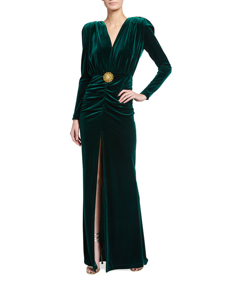 Bronx and Banco Ruched Velvet Gown with Fringe Back Trim