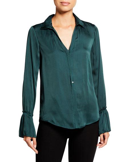 PAIGE Abriana Pleated-Sleeve Satin Shirt