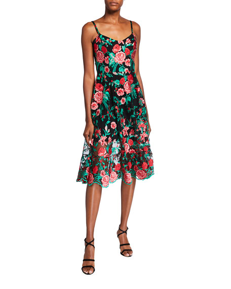 Dress The Population Uma Floral Embroidered Spaghetti-Strap Dress