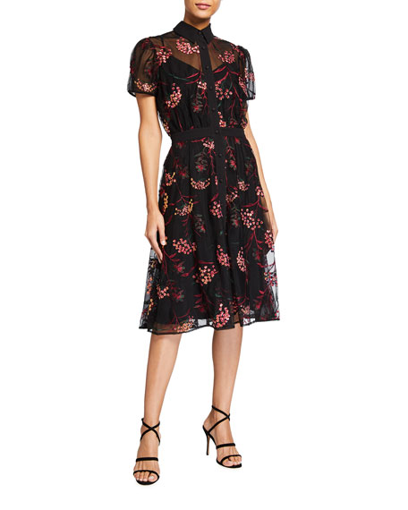 Dress The Population Camille Sequin Floral Embroidered Shirtdress
