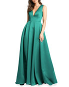 Ieena for Mac Duggal Plunging V-Neck Box-Pleated Satin