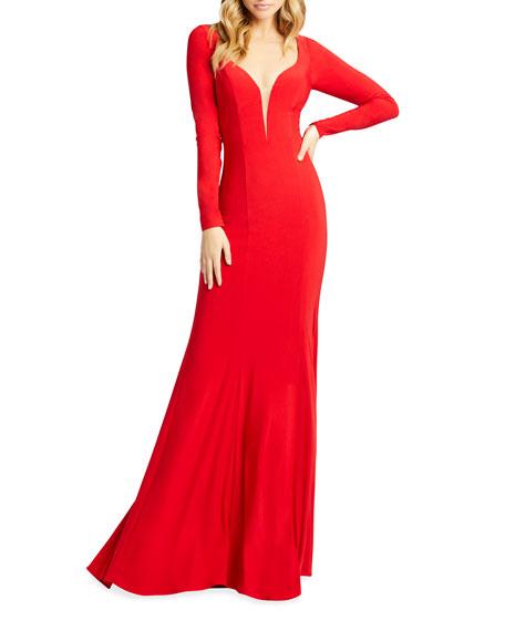 Ieena for Mac Duggal Queen Anne Long-Sleeve Jersey Sheath Gown