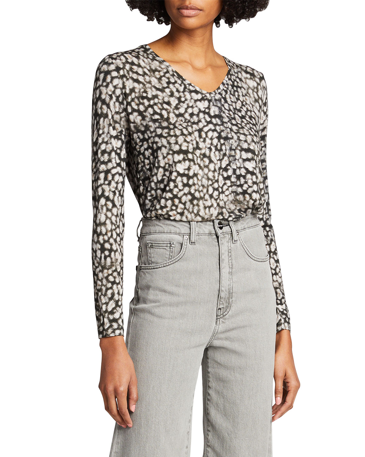Majestic SOFT TOUCH LEOPARD PRINT LONG-SLEEVE V-NECK TOP