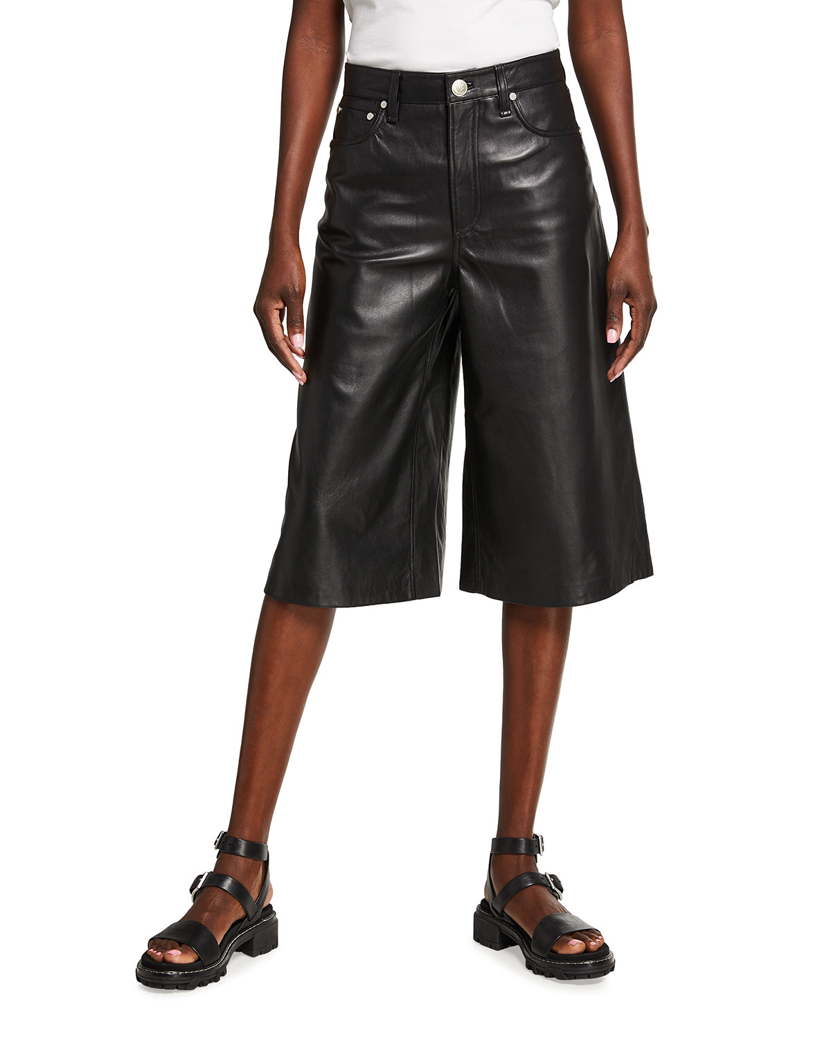 Rag & Bone SUPER HIGH-RISE LEATHER CULOTTES