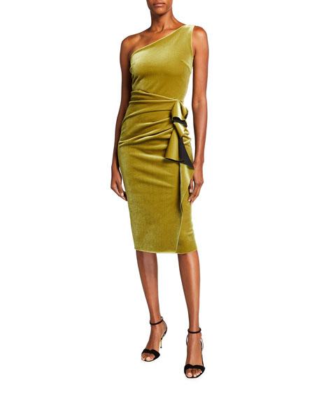 Chiara Boni La Petite Robe One-Shoulder Ruched Velvet Dress with Side Ruffle