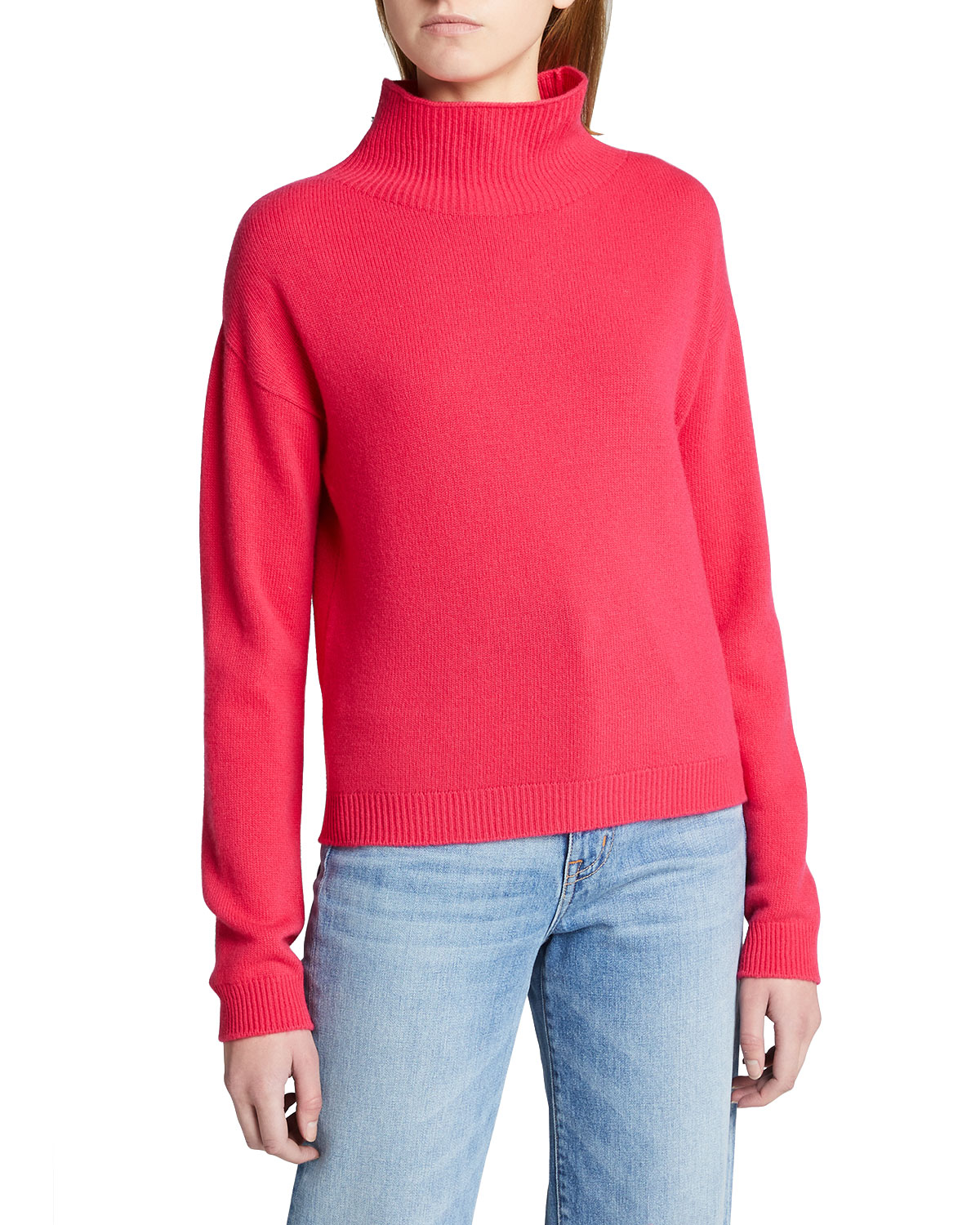 Majestic WOOL-CASHMERE FUNNEL-NECK KNIT SWEATER