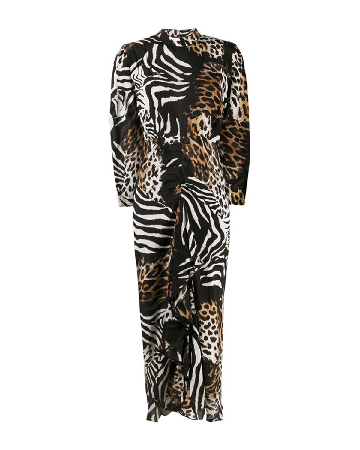 Dani Animal-Print Ruffle Maxi Dress