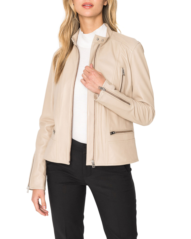 Meryl Snap Stand Collar Leather Moto Jacket