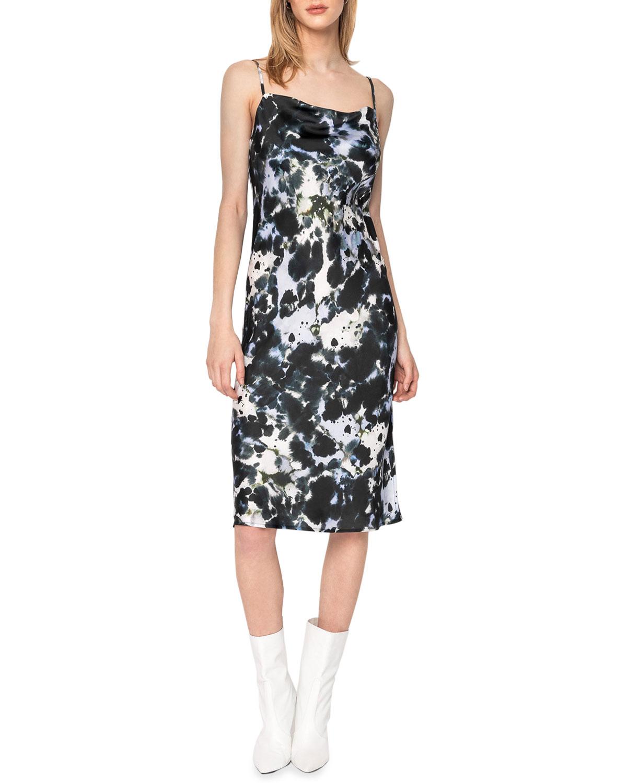 Colina Printed Satin Slip Dress
