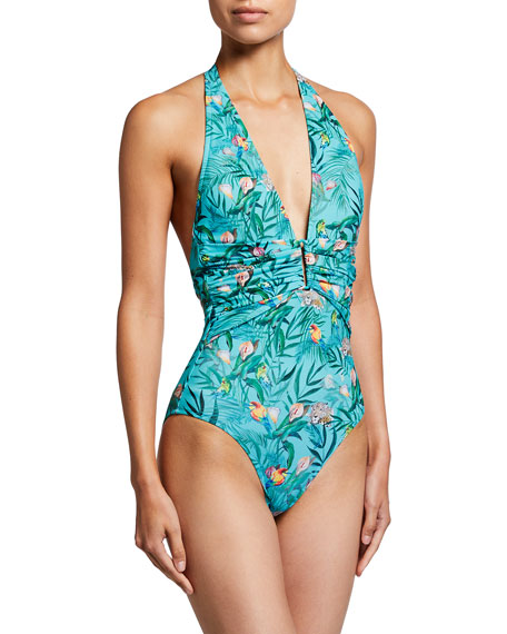 Johnny Was Taina Ruched Front Halter One-Piece Swimsuit