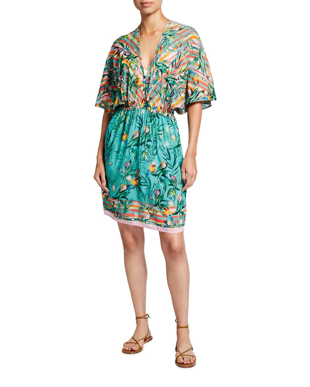 Taina Dolman-Sleeve Swim Coverup Dress