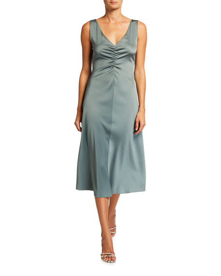 Vince Ruched Double V-Neck Sleeveless Dress
