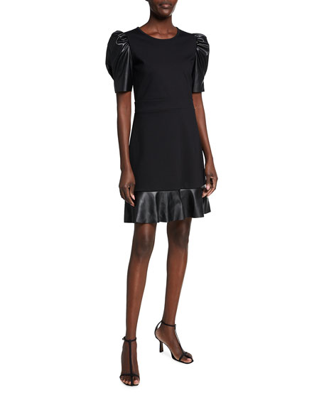 MICHAEL Michael Kors Ponte Faux Leather Mixed Ruffle-Hem Dress