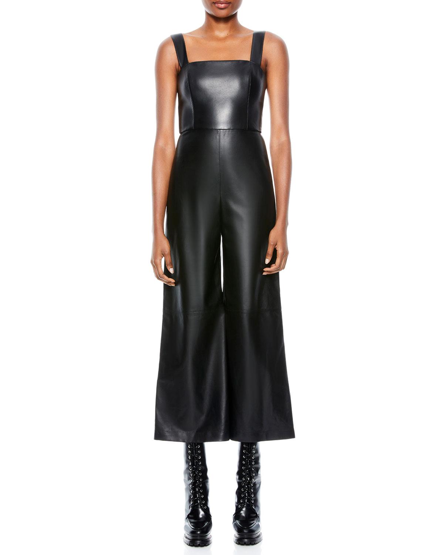 Avelina Vegan Leather Wide-Leg Jumpsuit