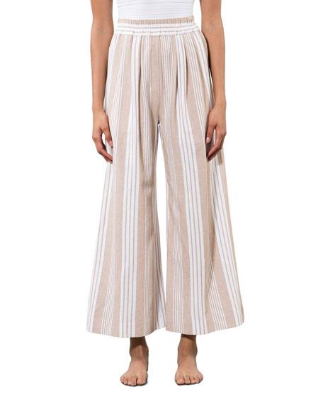 Mara Hoffman Paloma Striped Organic Cotton Wide-Leg Pants