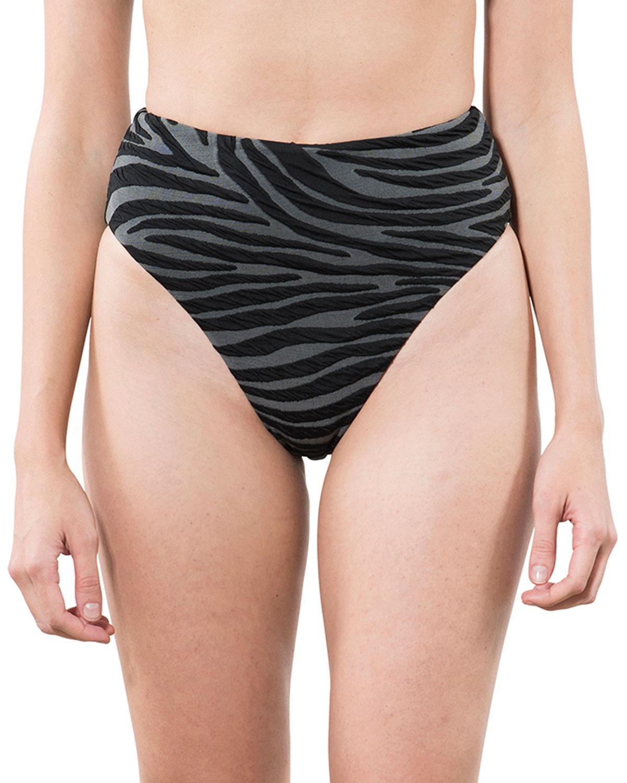 Imina Zebra-Print High-Waist Bikini Bottoms