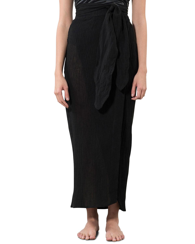 Thiago Organic Linen-Cotton Maxi Wrap Skirt