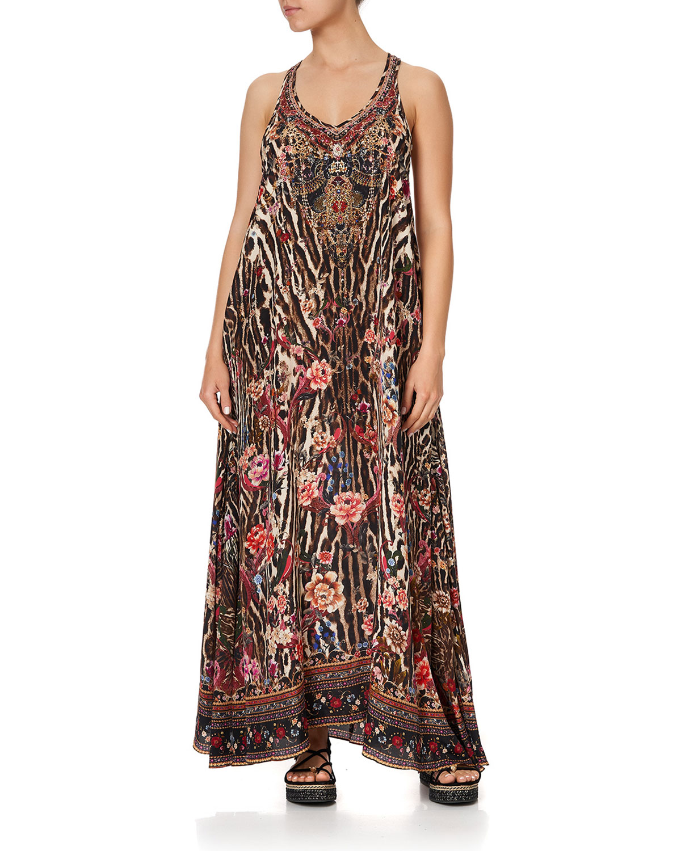Printed V-Neck Silk Racerback Dress