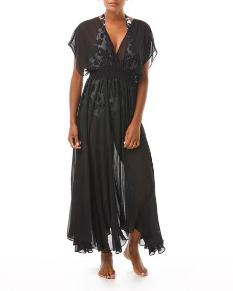 kate spade new york Sid Open-Back Smocked-Waist Maxi Coverup Dress