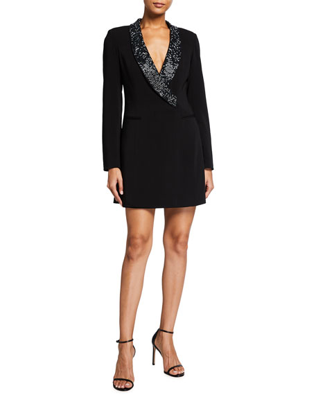 Jay Godfrey Beaded Shawl Collar Blazer Dress
