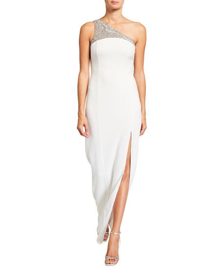 Jay Godfrey Sacramento Beaded Applique One-Shoulder Column Gown