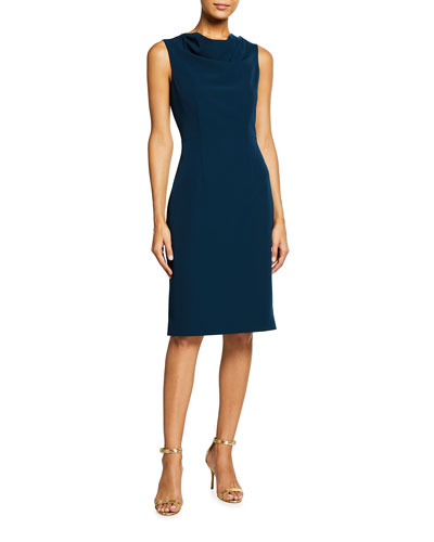 Cowl-Neck Sleeveless Cady Sheath Dress