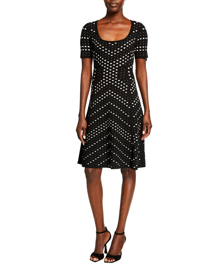 Milly Pointelle Jacquard Flare Dress