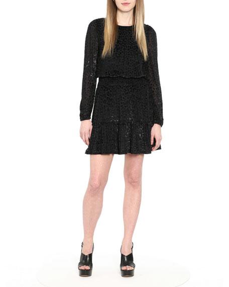 MICHAEL Michael Kors Wildcat Smock-Waist Foil Jersey Burnout Velvet Dress