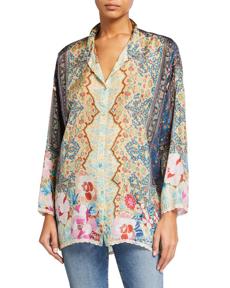 Johnny Was Syble Printed Silk Button-Down Blouse