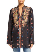 Johnny Was Bania Floral Print Embroidered Cupro Blouse