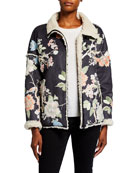 Johnny Was Dusk Floral Print Sherpa Coat