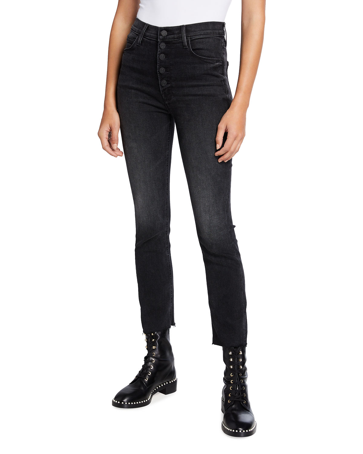 Mother THE PIXIE DAZZLER ANKLE FRAY SKINNY JEANS