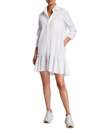 REDValentino Mini Shirtdress with Ruffle Hem